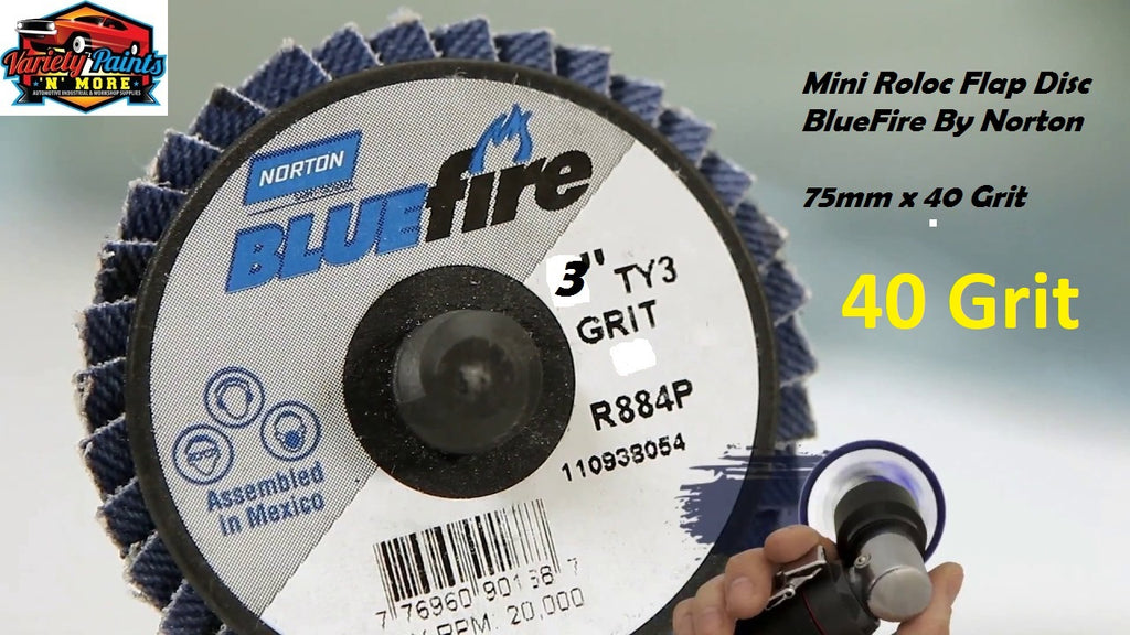 Bluefire Mini Roloc Flap Disc 75mm x 40 Grit