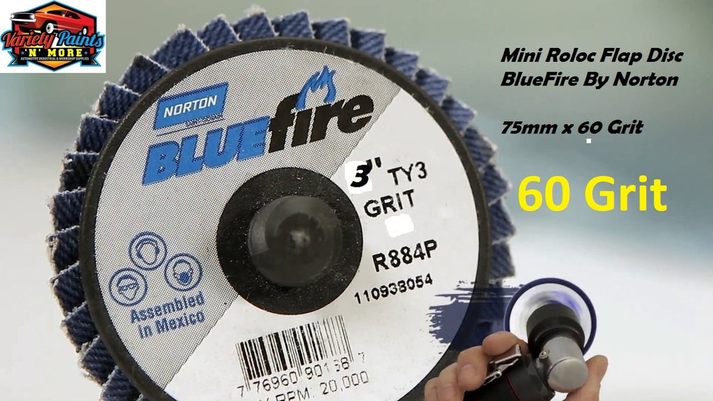 Bluefire Mini Roloc Flap Disc 75mm x 60 Grit