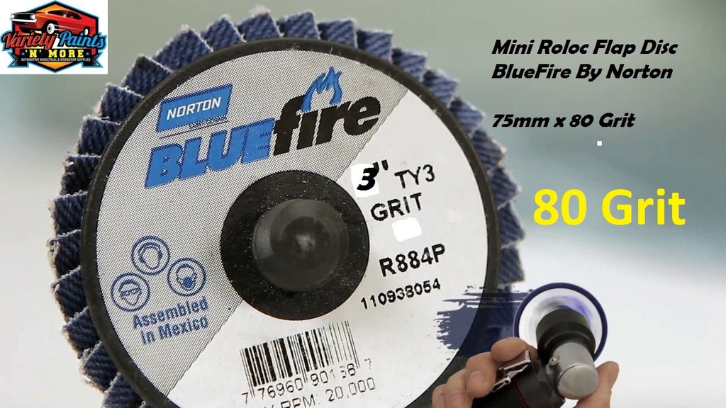 Bluefire Mini Roloc Flap Disc 75mm x 80 Grit