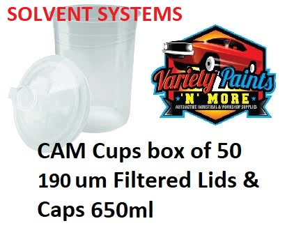 CAM Cups box of 50 190um Filtered Lids & Caps 600ml Solvent