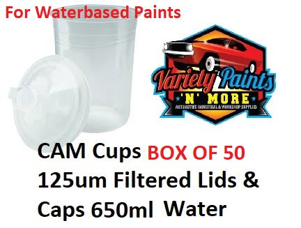 CAM Cups box of 50 125um Filtered Lids & Caps 650ml Water Based Paints