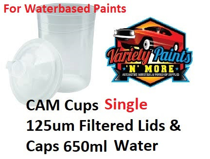 CAM Cup SINGLE 125um Filtered Lids & Caps 650ml Water Based Paints