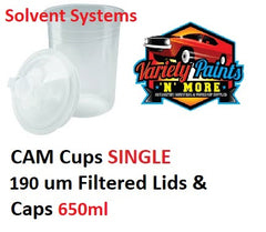 CAM Cup SINGLE 190um Filtered Lids & Caps 650ml Solvent Based Paints