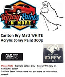 Carlton Dry Matt WHITE Acrylic Spray Paint 300g