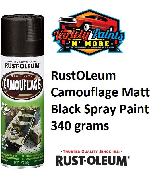 RustOLeum Camouflage MATT Black Spray Paint 340 grams