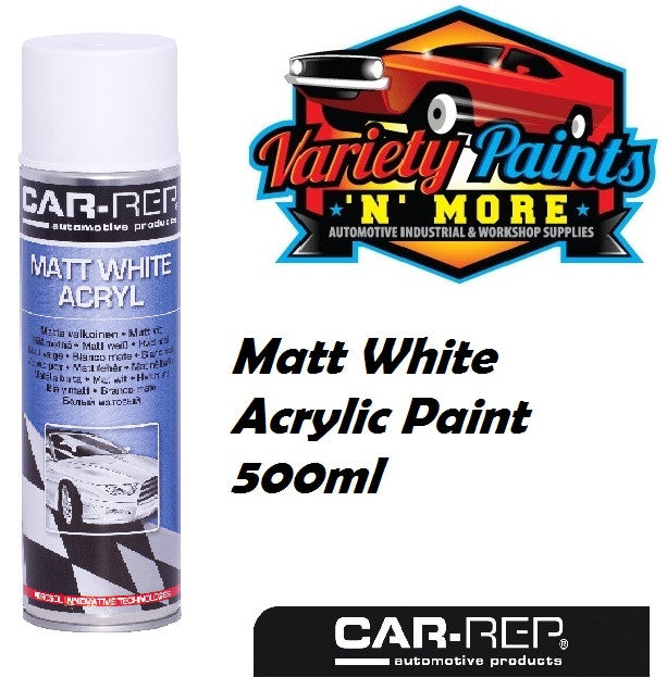 Car-Rep Acrylic Colour Matt White 500ml Aerosol