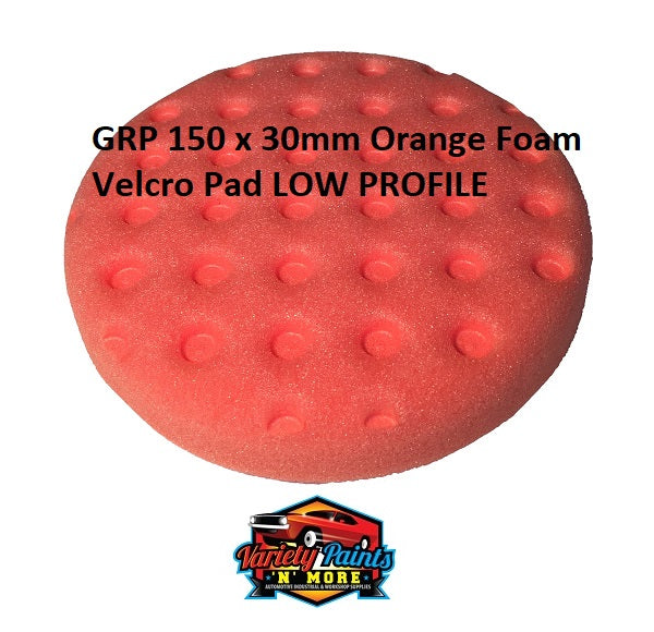 GRP 150 x 30mm Orange Cutting  Foam Velcro Pad LOW PROFILE