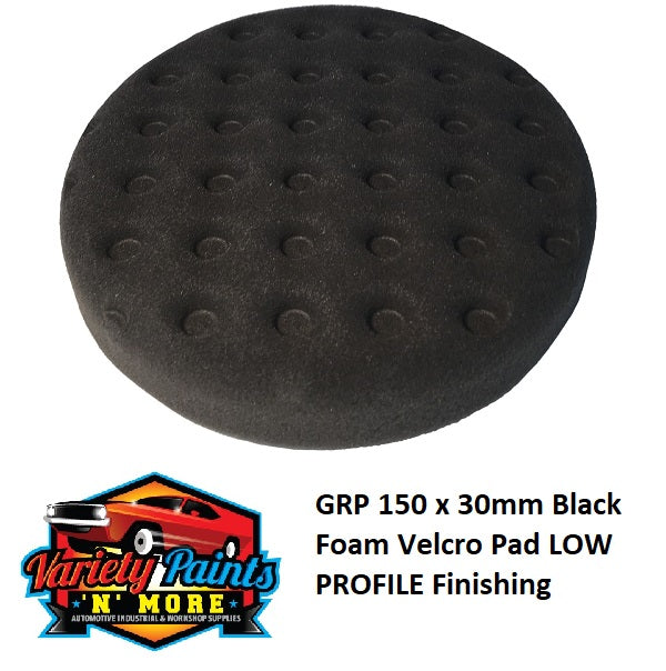 GRP 150 x 30mm Black Foam Velcro Pad LOW PROFILE Finishing
