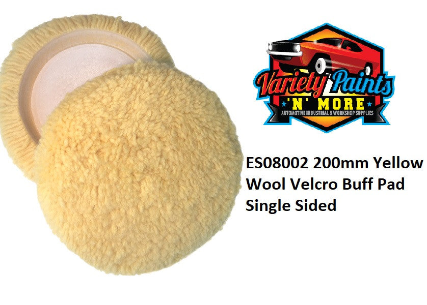 200mm Yellow Wool Velcro Buff Pad Single Sided