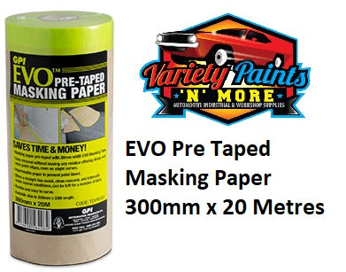EVO Pre Taped Masking Paper 300mm x 20 Metres