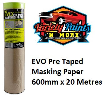 EVO Pre Taped Masking Paper 600mm x 20 Metres
