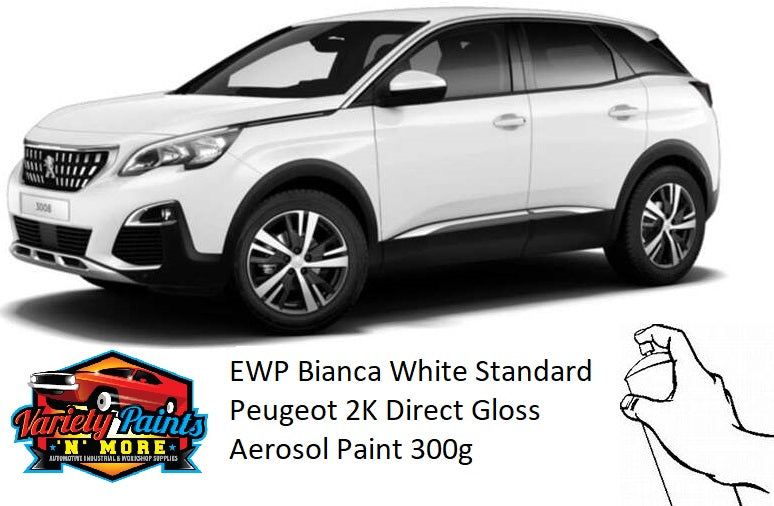 EWP Bianca White Standard Peugeot 2K Direct Gloss Spray Paint 300 Grams