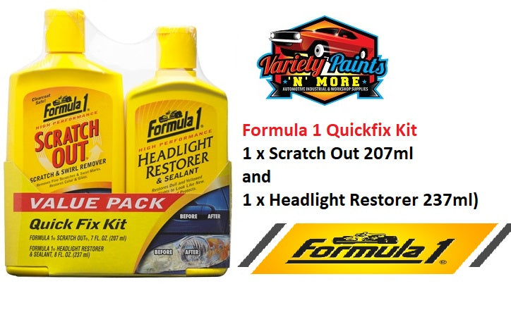 Formula 1 Quickfix Kit (1 x Scratch Out 207ml and 1 x Headlight Restorer 237ml)
