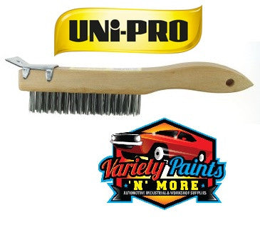 Unipro Wooden Handles 4 Row Wire Brush Scraper