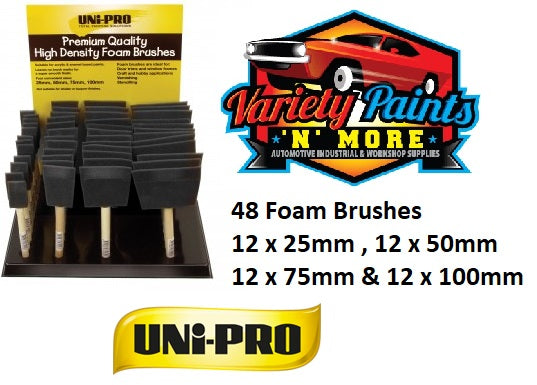 Unipro High Density Foam Brush Merchandiser 12 of each size