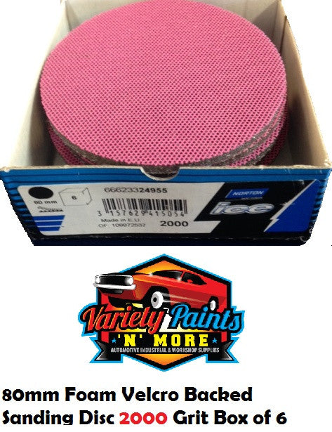 Norton BOX OF 6 2000 Grit Ice Foam Discs 80mm Fucshia