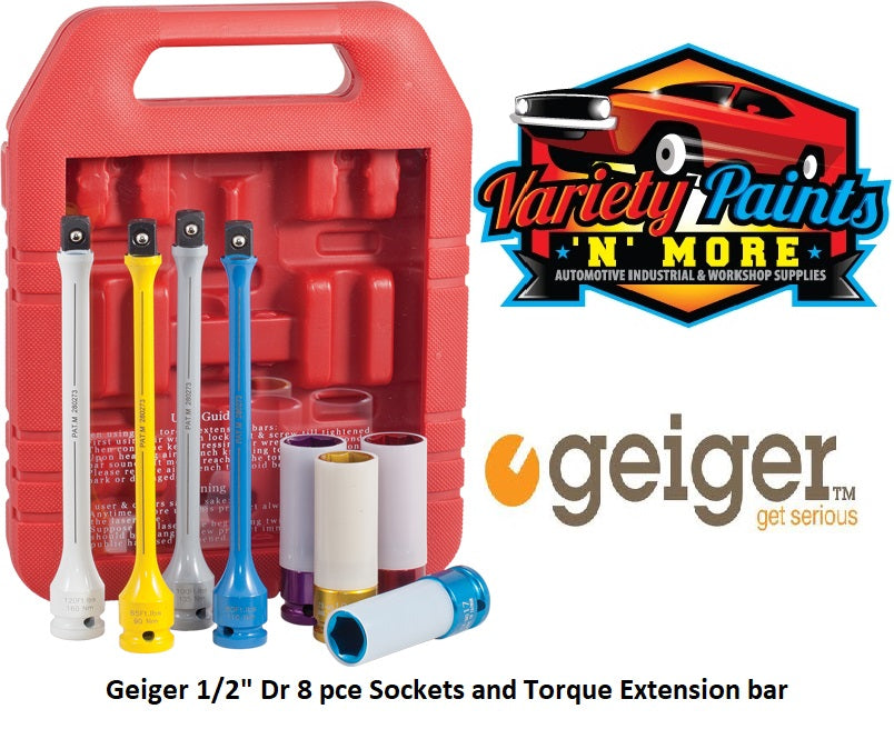 "Geiger 1/2"" Dr 8 pce Sockets and Torque Extension bar"