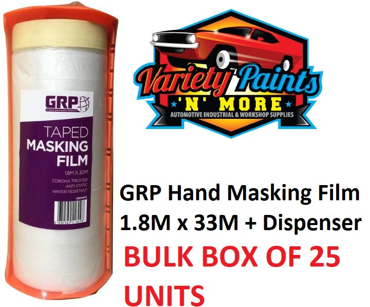 GRP Hand Masking Film: 1.8M x 30M + Dispenser BOX OF 25