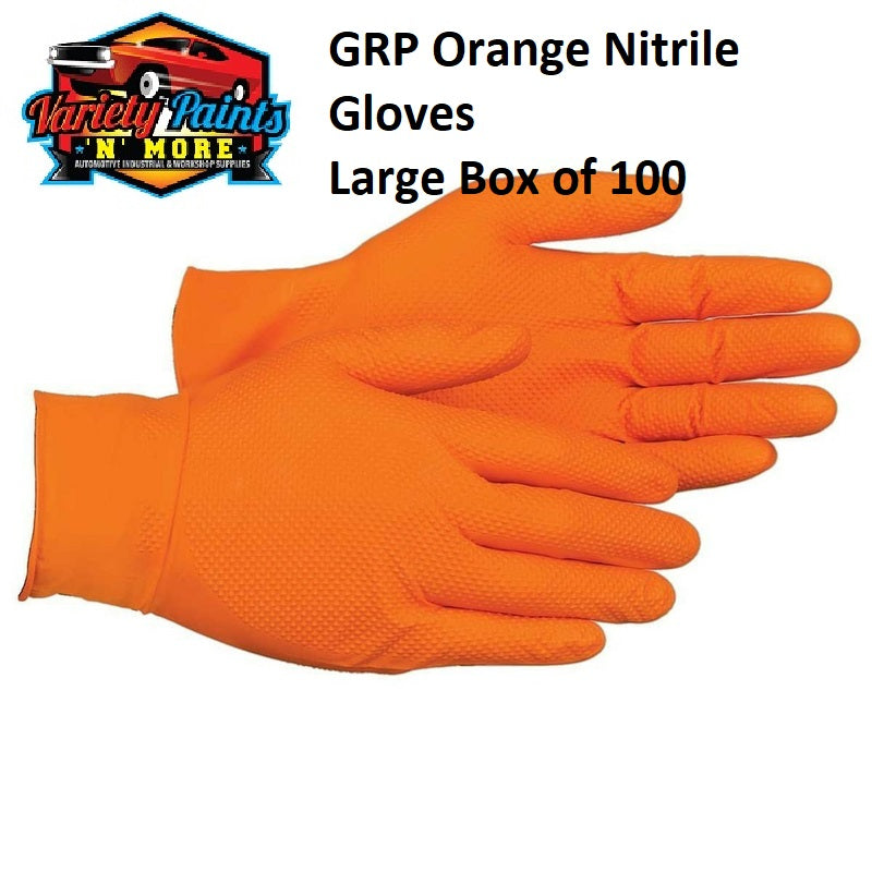 GRP Orange Nitrile Gloves Large Box of 100