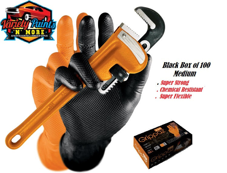 Grippaz Medium Black Gloves Super Strong & Super Stretch Nitrile Gloves Box of 100