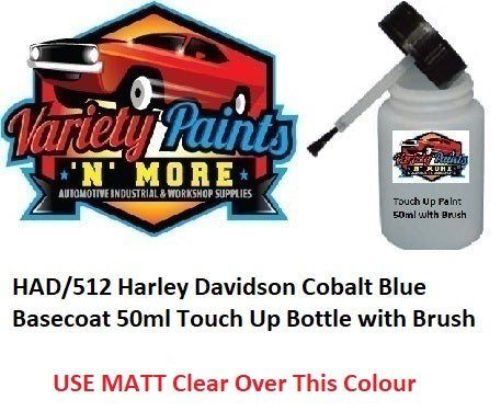 HAD/512 Harley Davidson Cobalt Blue Basecoat 50ml Touch Up Bottle with Brush