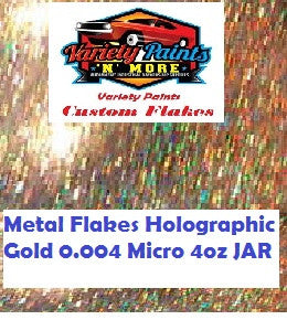 Metal Flakes Holographic Gold  0.004 Micro 4 Oz Jar