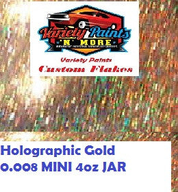 Metal Flakes Holographic Gold  0.008 Mini 4oz JAR