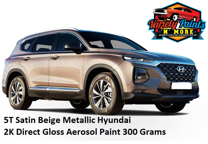 5T Satin Beige Metallic Hyundai 2K Aerosol Paint 300 Grams
