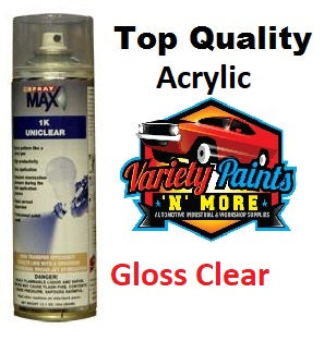SprayMax 1K Uni GLOSS Clear Acrylic Laquer Spray 400ml