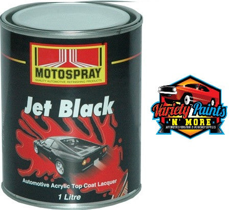 Motospray Jet Black Gloss Black Acrylic Lacquer 1 Litre
