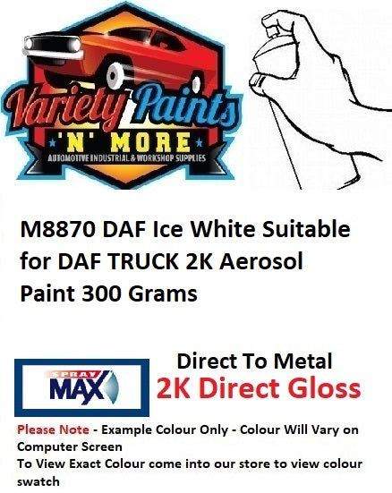 M8870 DAF Ice White Suitable for DAF TRUCK 2K Aerosol Paint 300 Grams