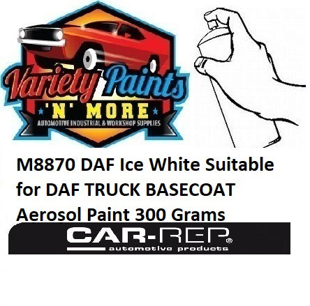 M8870 DAF Ice White Suitable for DAF TRUCK BASECOAT Aerosol Paint 300 Grams