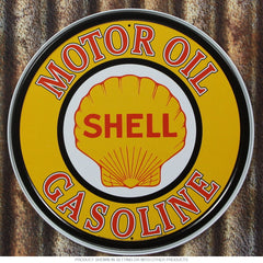 "METAL SIGN Motor OIL Shell Gasoline Round 11 3/4"" Diameter"