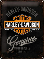 METAL SIGN Harley Genuine Logo 30x40cm 3D Effect