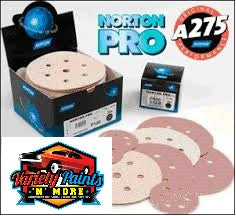 Norton A275 120 Grit  Champagne No-Fil Velcro Disc 150mm 6+1H  Box 100