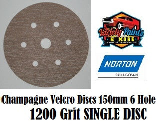 Norton A275 1200 Grit  Champagne No-Fil Velcro Disc 150mm 6+1H  Single Disc