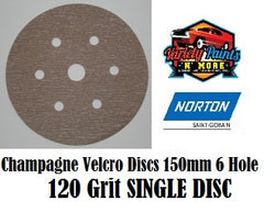 Norton A275 120 Grit  Champagne No-Fil Velcro Disc 150mm 6+1H  Single Disc