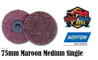 Norton Maroon 75mm Beartex Quick Change Disc (Roloc) Medium