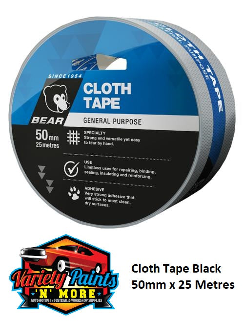 Norton Cloth Tape Black 50mm x 25 Metres