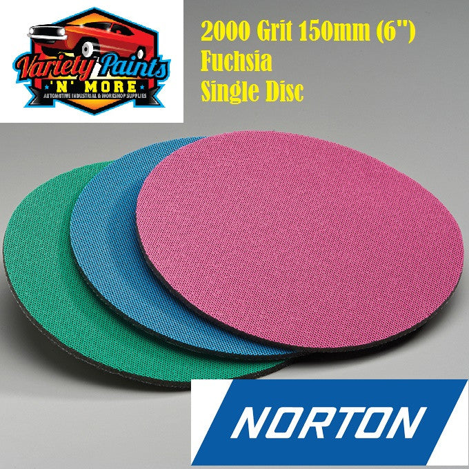 Norton Single 2000 Grit Ice Foam Discs 150mm Fuchsia