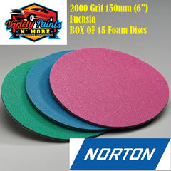 Norton BOX OF 15 2000 Grit Ice Foam Discs 150mm Fuchsia