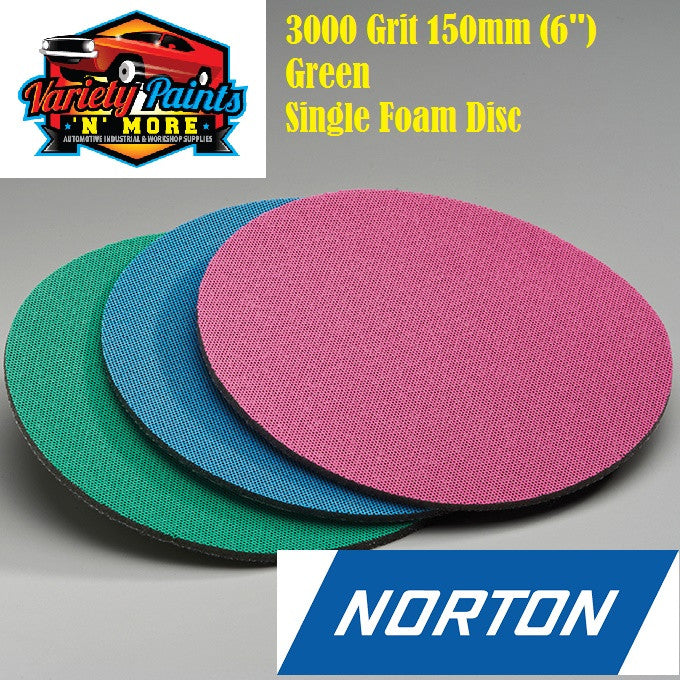 Norton Single 3000 Grit Ice Foam Discs 150mm Green