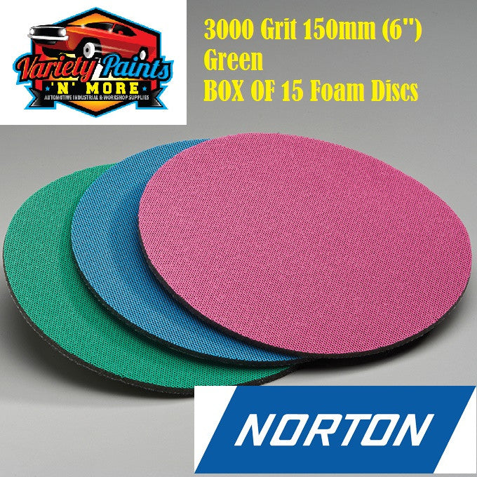 Norton BOX OF 15 3000 Grit Ice Foam Discs 150mm Green