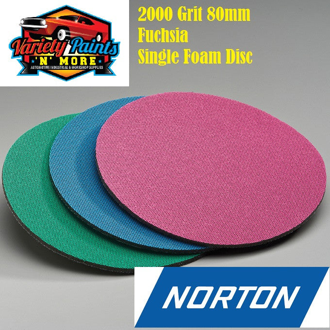 Norton Single 2000 Grit Ice Foam Discs 80mm Fuchsia