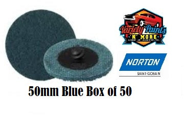 Norton Blue 50mm Beartex Quick Change Disc (Roloc) Very Fine Box of 50