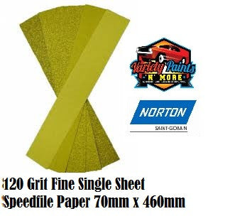 Norton 120Grit Single Speedfile Sandpaper Sheet 70mm x 460mm