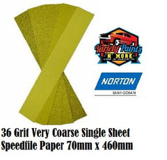 Norton 36 Grit Single Speedfile Sandpaper Sheet 70mm x 460mm
