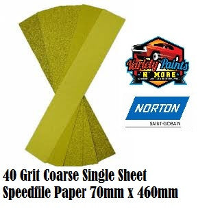 Norton 40 Grit Single Speedfile Sandpaper Sheet 70mm x 460mm