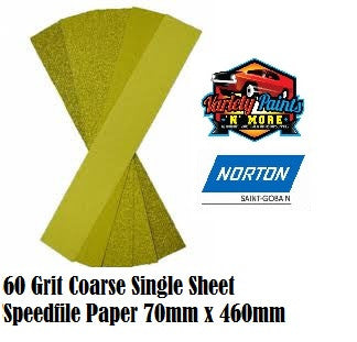 Norton 60Grit Single Speedfile Sandpaper Sheet 70mm x 460mm