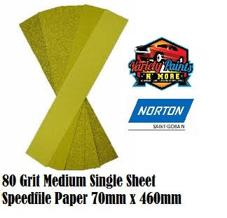 Norton 80Grit Single Speedfile Sandpaper Sheet 70mm x 460mm
